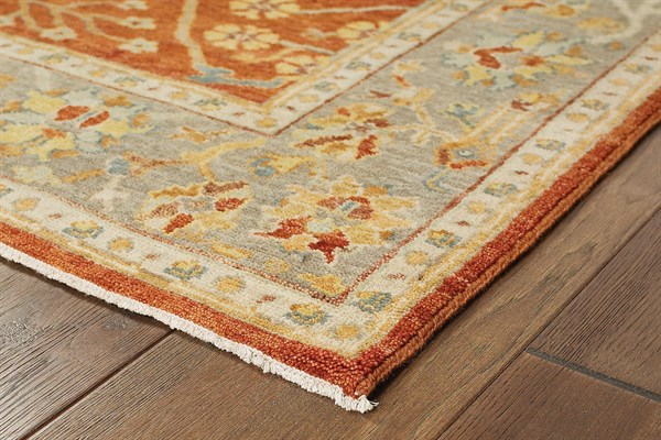 Red, Grey Traditional / Oriental Area Rug