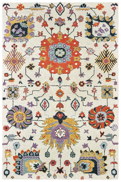 Ivory, Orange Traditional / Oriental Area Rug