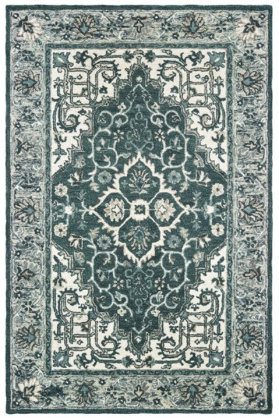 Grey, Teal Traditional / Oriental Area Rug