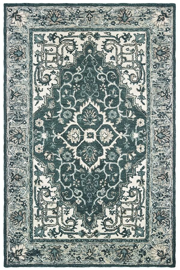 Grey, Teal Traditional / Oriental Area Rug