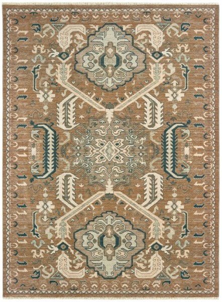Rust, Teal (W) Traditional / Oriental Area Rug
