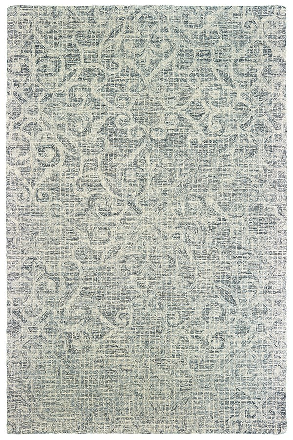 Grey, Ivory Damask Area Rug
