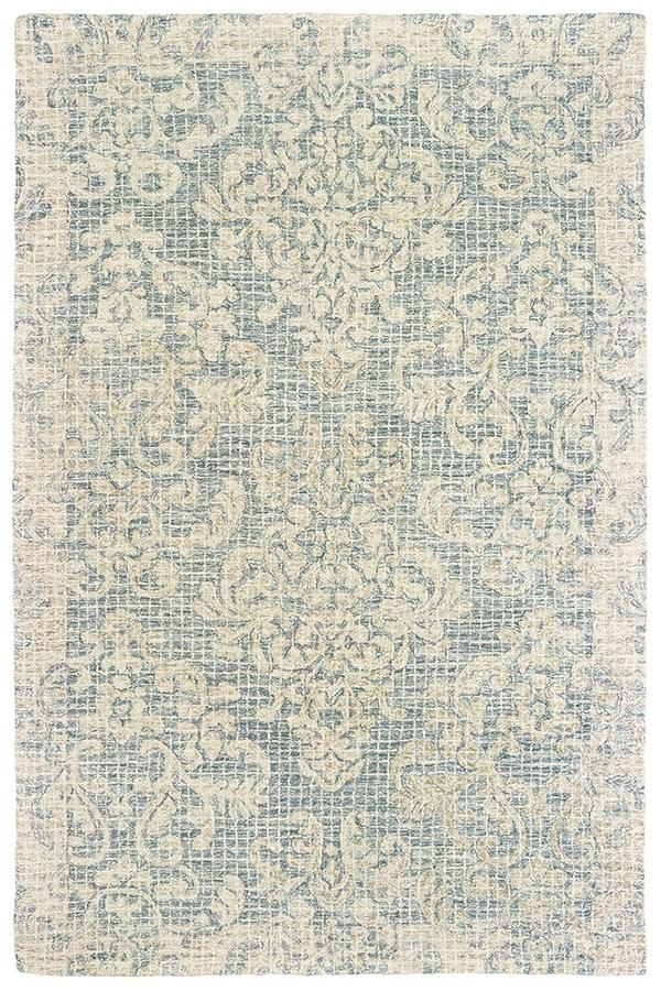 Blue, Ivory Damask Area Rug