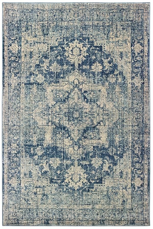 Ivory, Blue (E7) Vintage / Overdyed Area Rug