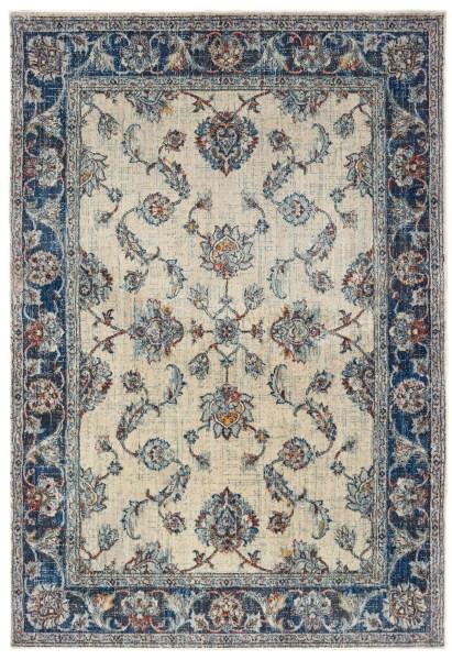 Ivory, Blue (E) Traditional / Oriental Area Rug