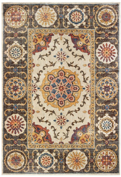 Ivory, Brown (X) Traditional / Oriental Area Rug