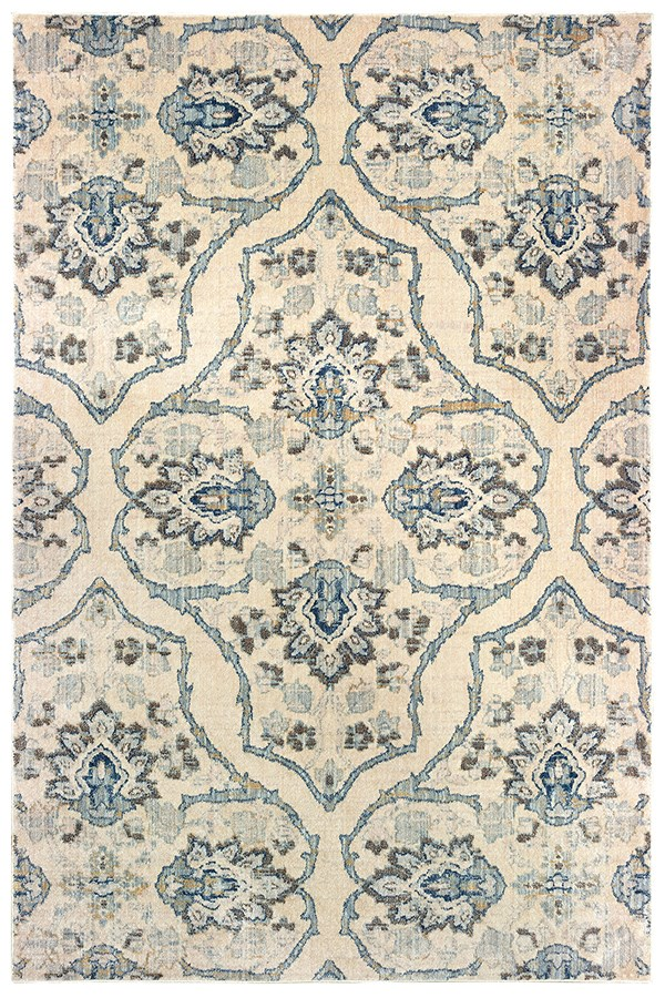 Ivory, Blue (W) Damask Area Rug