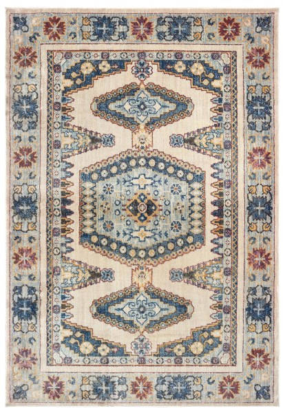 Ivory, Blue (I) Moroccan Area Rug