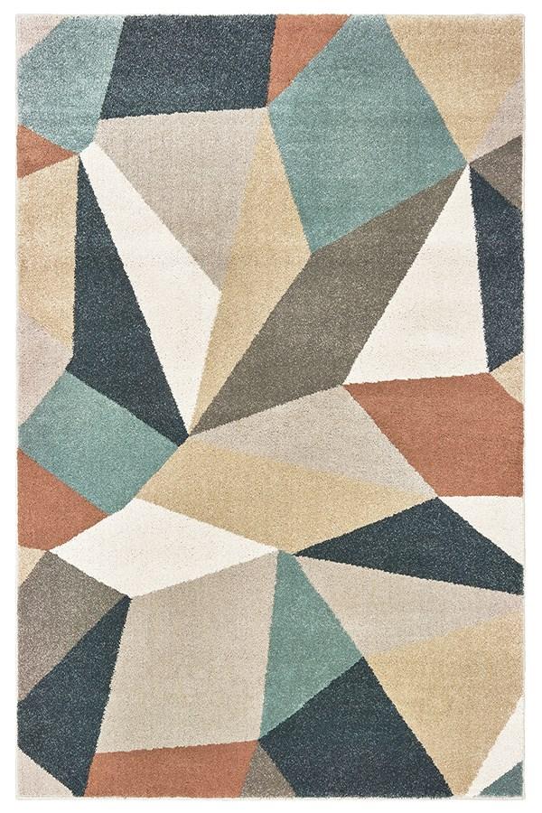 Blue, Light Grey, Orange Geometric Area Rug