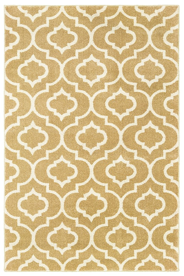 Gold, Ivory Moroccan Area Rug