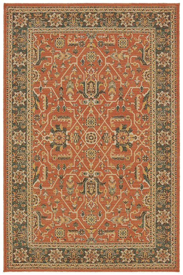 Orange, Blue (C) Traditional / Oriental Area Rug