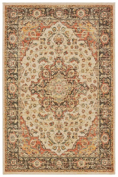 Ivory, Orange (A) Traditional / Oriental Area Rug