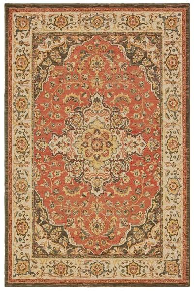 Orange, Ivory (B) Traditional / Oriental Area Rug