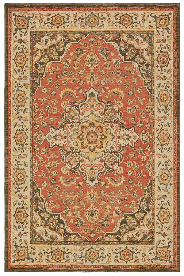 Orange, Ivory (B) Traditional / Oriental Area Rug