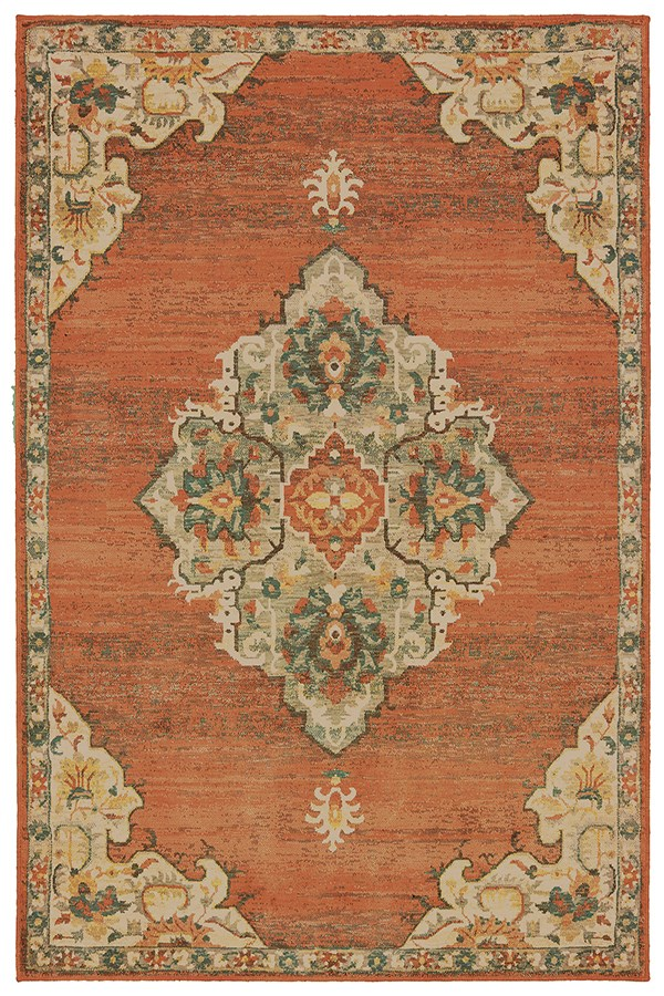 Orange, Grey (B) Traditional / Oriental Area Rug