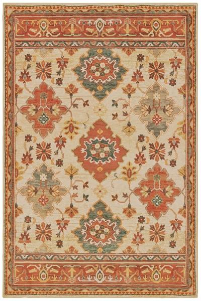 Ivory, Orange (A) Traditional / Oriental Area Rug