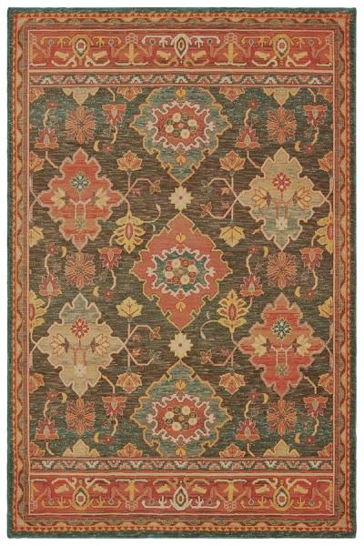 Charcoal, Orange (B) Traditional / Oriental Area Rug
