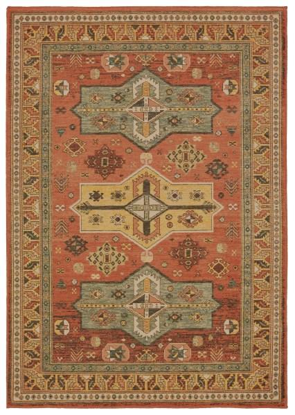 Orange, Gold (A) Traditional / Oriental Area Rug