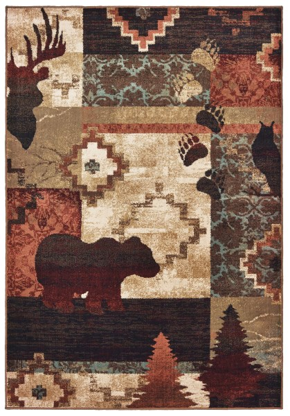 Brown, Rust (A) Country Area Rug