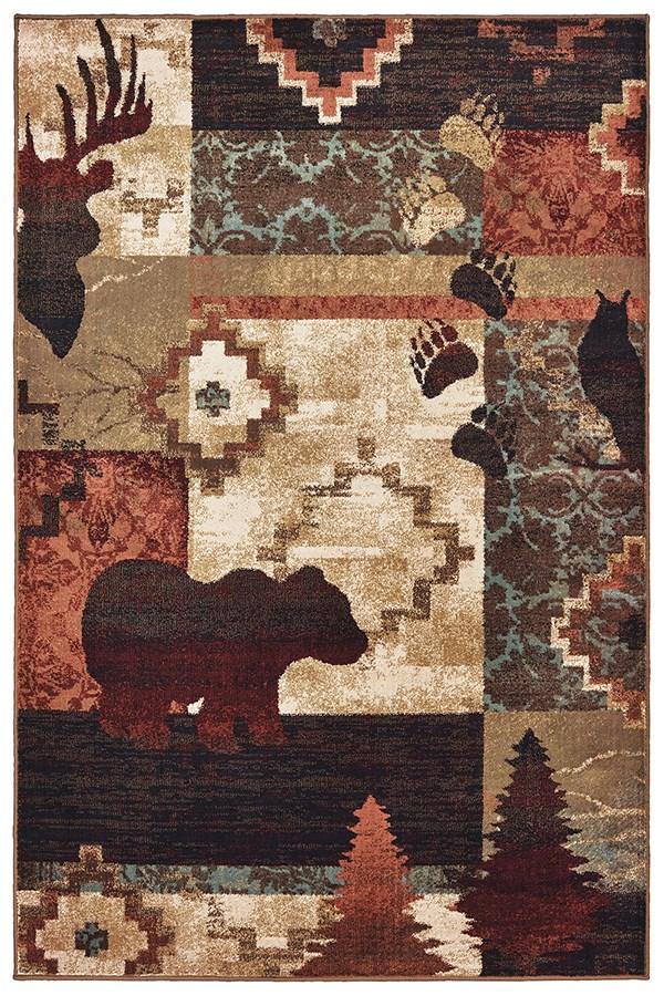 Brown, Rust (A) Southwestern / Lodge Area Rug