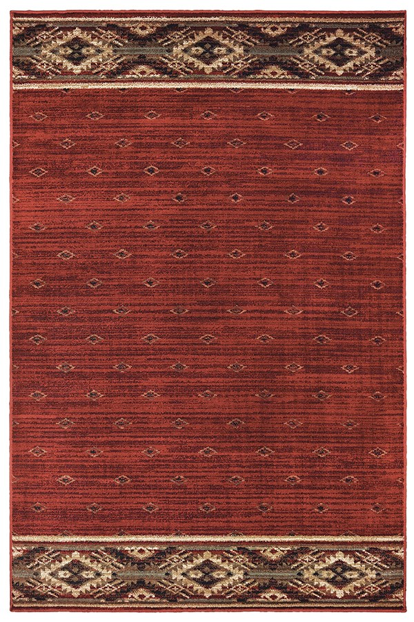 Rust, Gold (C) Southwestern / Lodge Area Rug