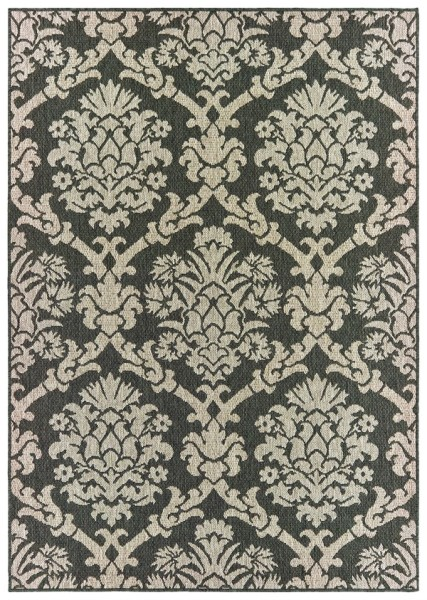 Grey, Charcoal (K) Traditional / Oriental Area Rug
