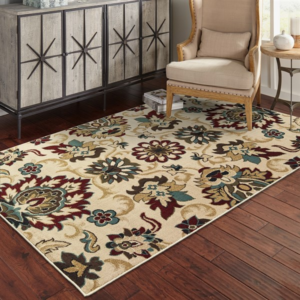 Ivory, Blue, Burgundy Traditional / Oriental Area Rug