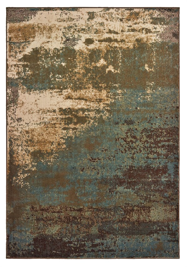 Seafoam, Gold, Beige Abstract Area Rug