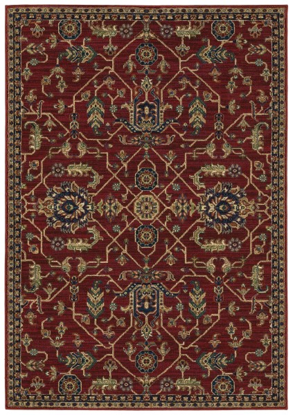Red, Khaki (R) Traditional / Oriental Area Rug