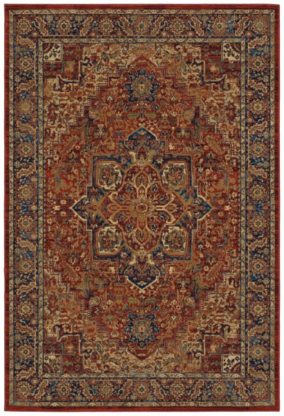 Red, Khaki Traditional / Oriental Area Rug