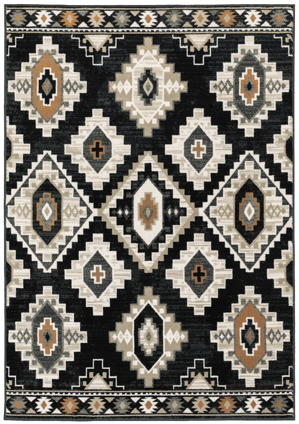 Charcoal, Taupe Southwestern / Lodge Area Rug