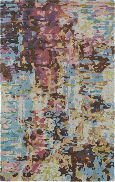 Blue, Purple, Brown Abstract Area Rug