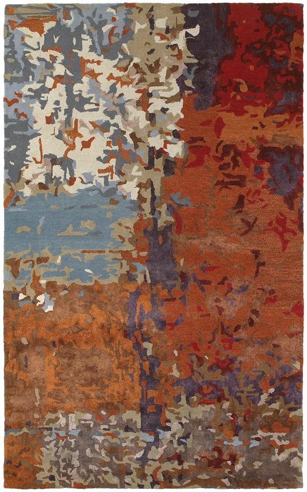Orange, Ivory, Blue Abstract Area Rug