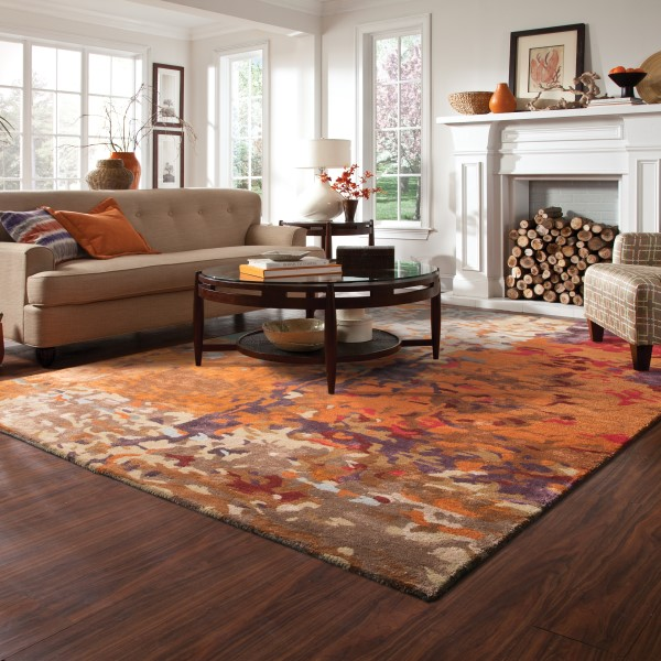 Orange, Ivory, Blue Abstract Area Rug