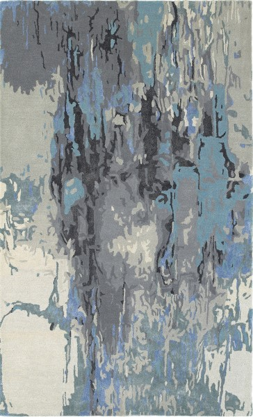 Grey, Blue, Ivory Abstract Area Rug