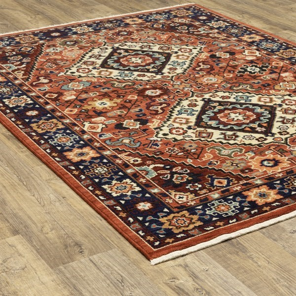 Red, Blue Bohemian Area Rug