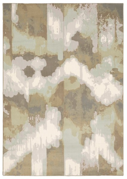 Ivory, Green Abstract Area Rug