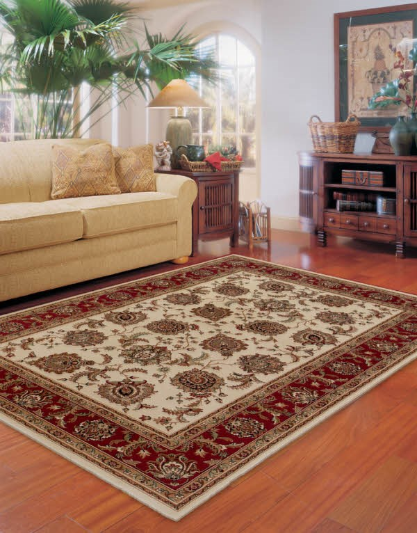Ivory, Red (117J3) Traditional / Oriental Area Rug