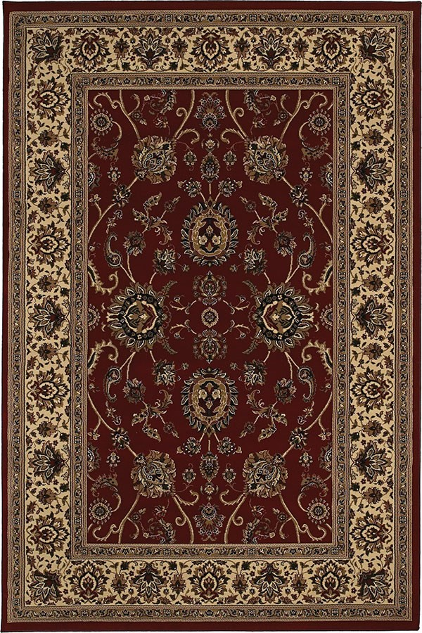Red, Ivory (130-8) Traditional / Oriental Area Rug