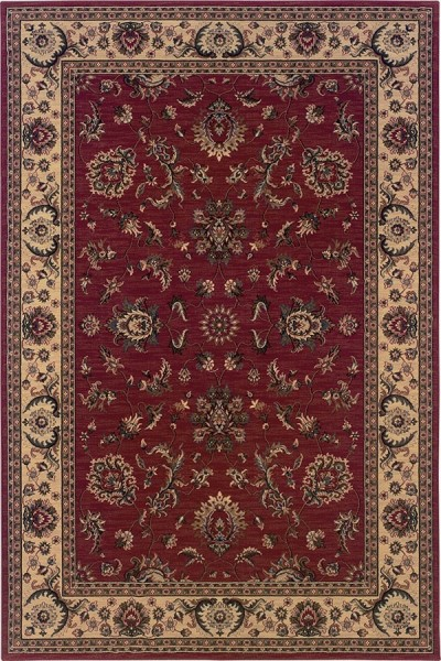 Red, Ivory (311C) Traditional / Oriental Area Rug