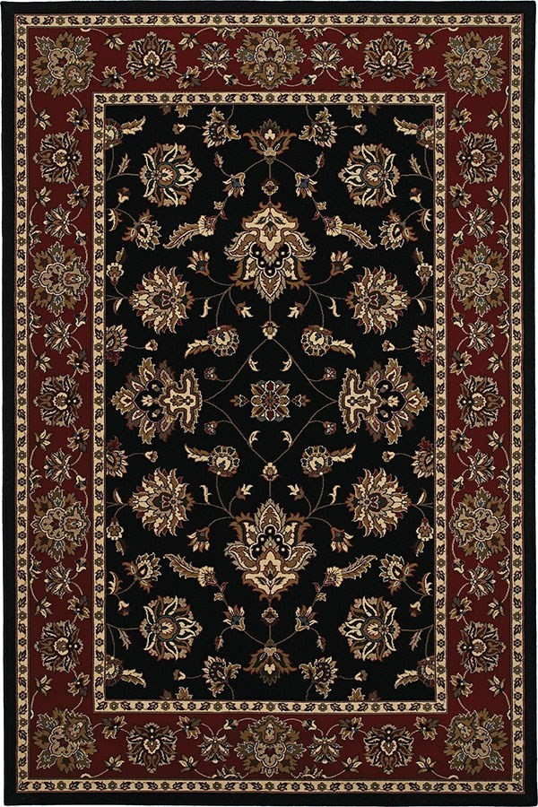Black, Red (623M) Traditional / Oriental Area Rug