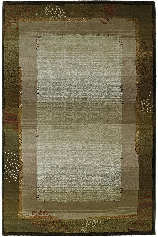 Green, Beige   Bordered Area Rug