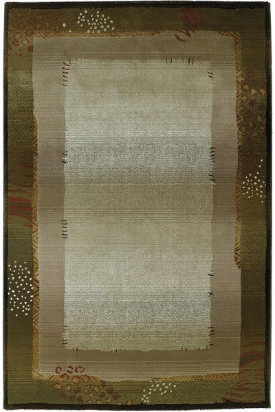 Green, Beige   Abstract Area Rug