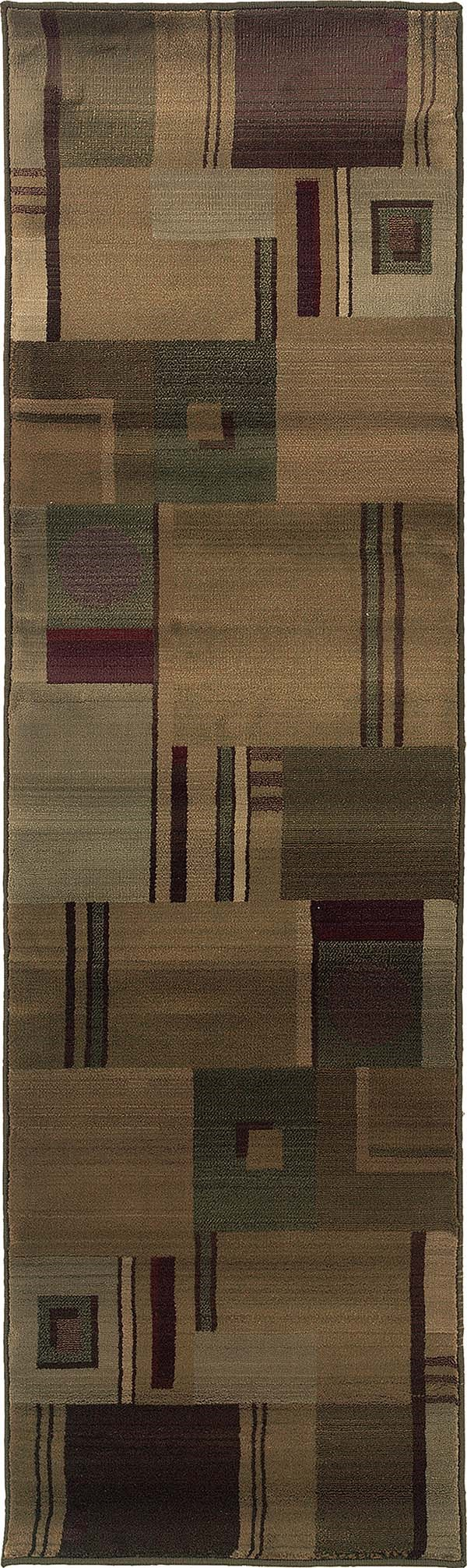 Green, Red Contemporary / Modern Area Rug