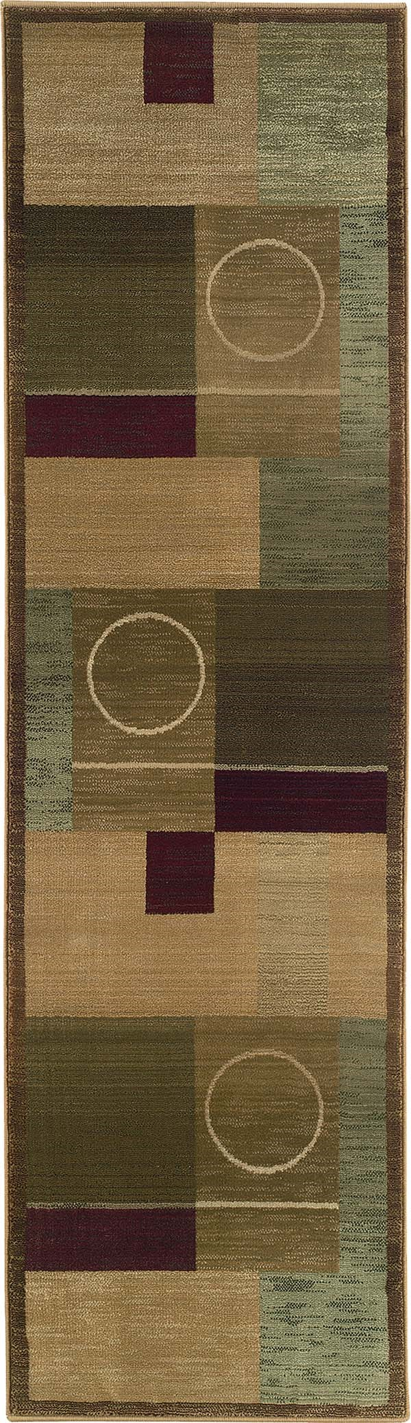 Green, Brown Contemporary / Modern Area Rug