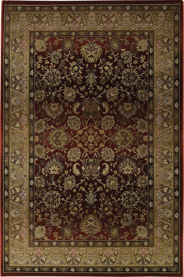 Red, Beige (3434R) Traditional / Oriental Area Rug