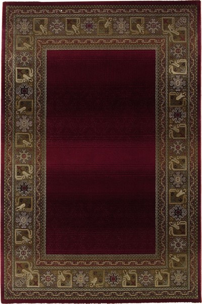 Red, Green (3436R) Bordered Area Rug