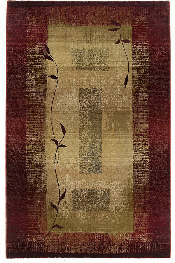 Red, Beige (544X1) Contemporary / Modern Area Rug