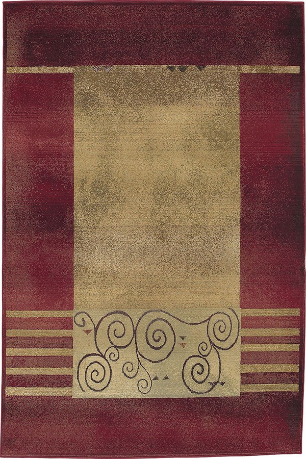 Red, Beige Bordered Area Rug