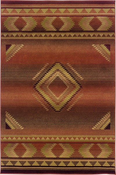 Red, Beige  Southwestern / Lodge Area Rug